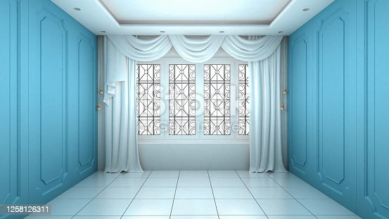 924294300 istock photo Empty Room Interior blue wall modern and luxury style. 3d Render 1258126311