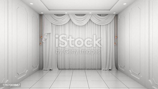 924294300 istock photo Empty Room Interior white wall modern and luxury style. 3d Render 1257000667