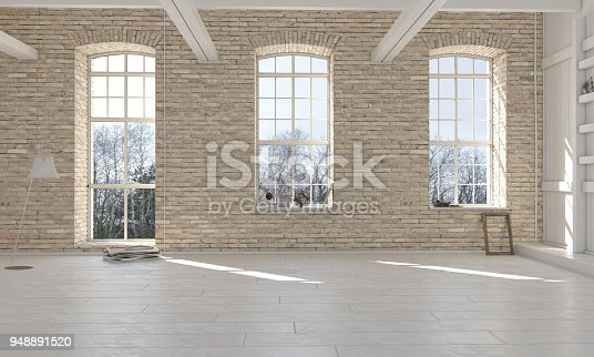 Empty room interior scene with brick wall. ( 3d render )
