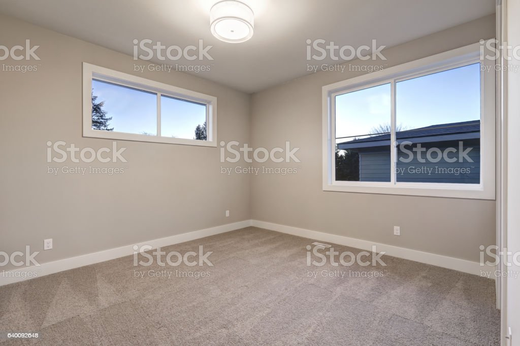 Empty Room Interior With Grey Walls Paint Color Stock Photo