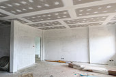 Empty room interior with gypsum board ceiling at construction site
