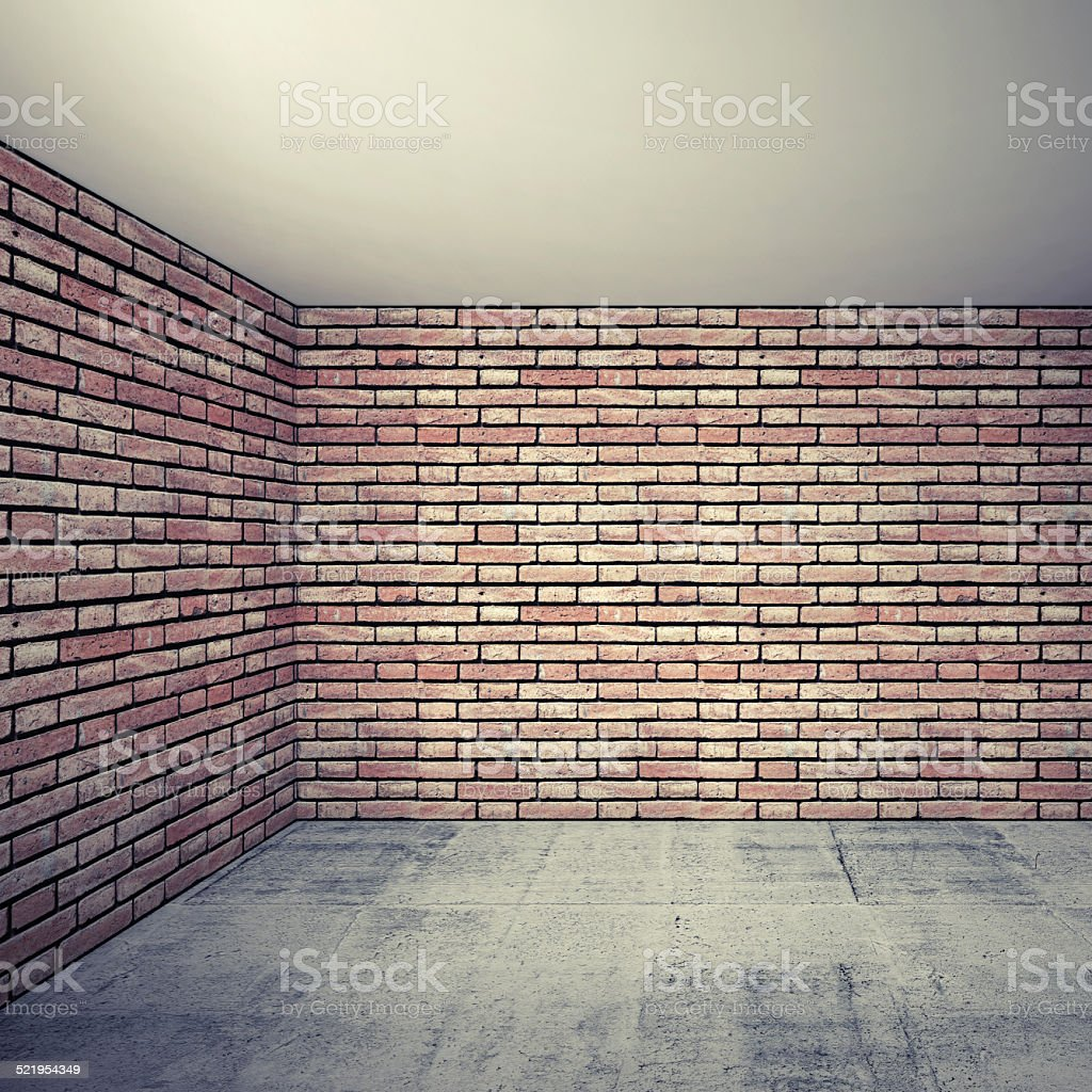 Empty room interior with red brick walls and concrete floor stock photo