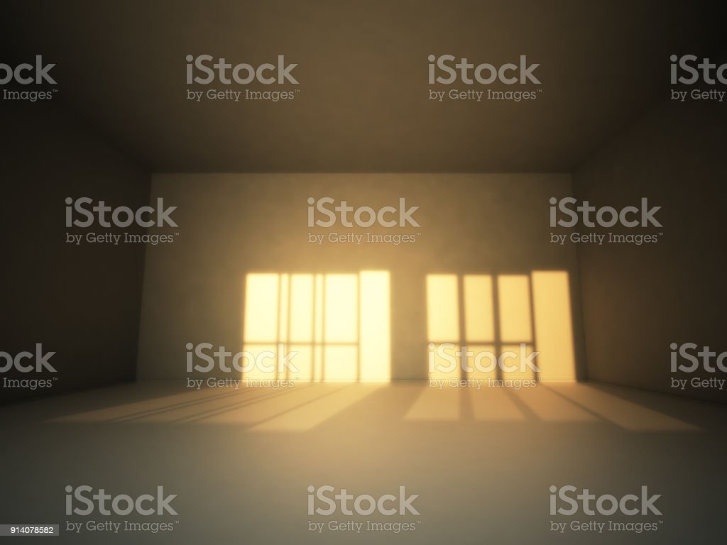 Empty Room Interior With Sunset Light On The Wall Stock Photo & More ...