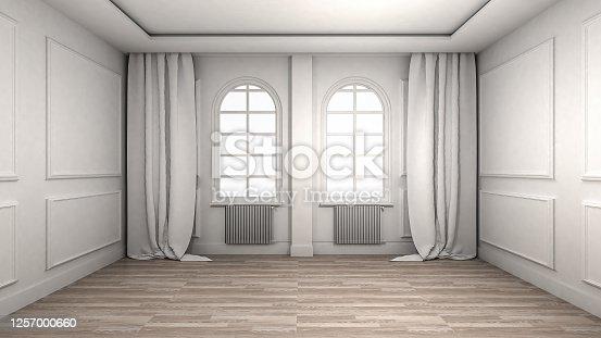 924294300 istock photo Empty Room Interior wooden floor classic and luxury style. 3d Render 1257000660
