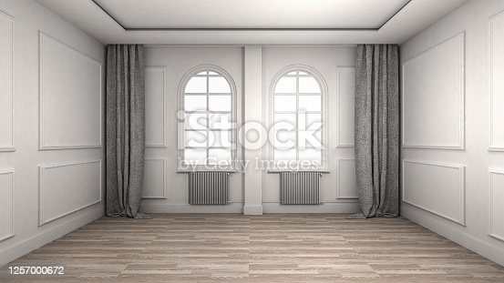 924294300 istock photo Empty Room Interior wooden floor classic and luxury style. 3d Render 1257000672