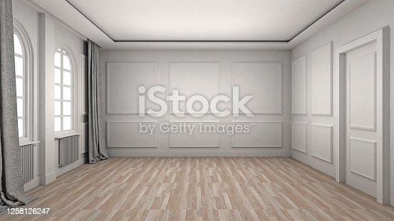 924294300 istock photo Empty Room Interior wooden floor classic and luxury style. 3d Render 1258126247