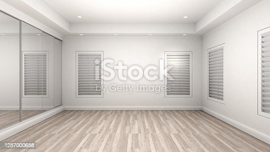 924294300 istock photo Empty Room Interior wooden floor modern and luxury style. 3d Render 1257000658