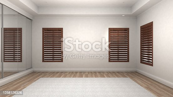 924294300 istock photo Empty Room Interior wooden floor modern and luxury style. 3d Render 1258126326