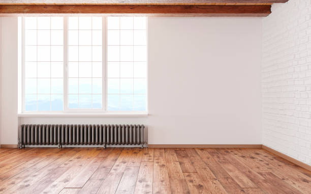 Empty room loft interior with big window white walls, bricks, Empty room loft interior with big window white walls, bricks, yoga studio stock pictures, royalty-free photos & images