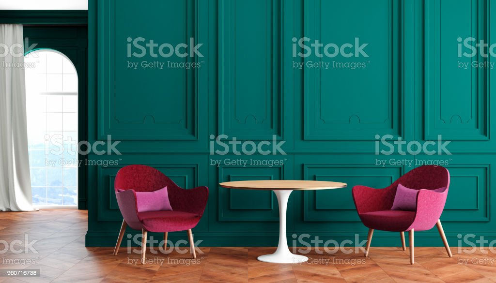 Empty Room Modern Classic Interior With Green Walls Red ...