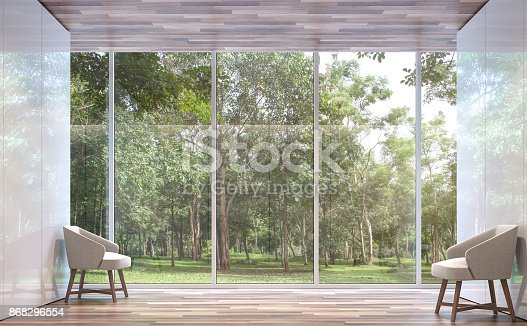 istock Empty room modern space with nature view 3d rendering image 868296554