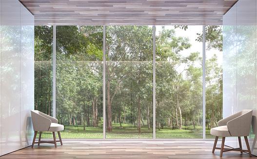 空房間現代空間與自然景觀3d 渲染圖像 照片檔及更多 休閒椅 照片