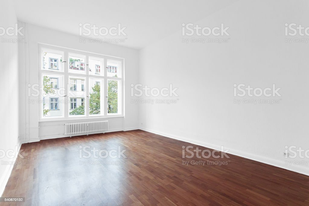 empty room - new apartment wooden floor stock photo