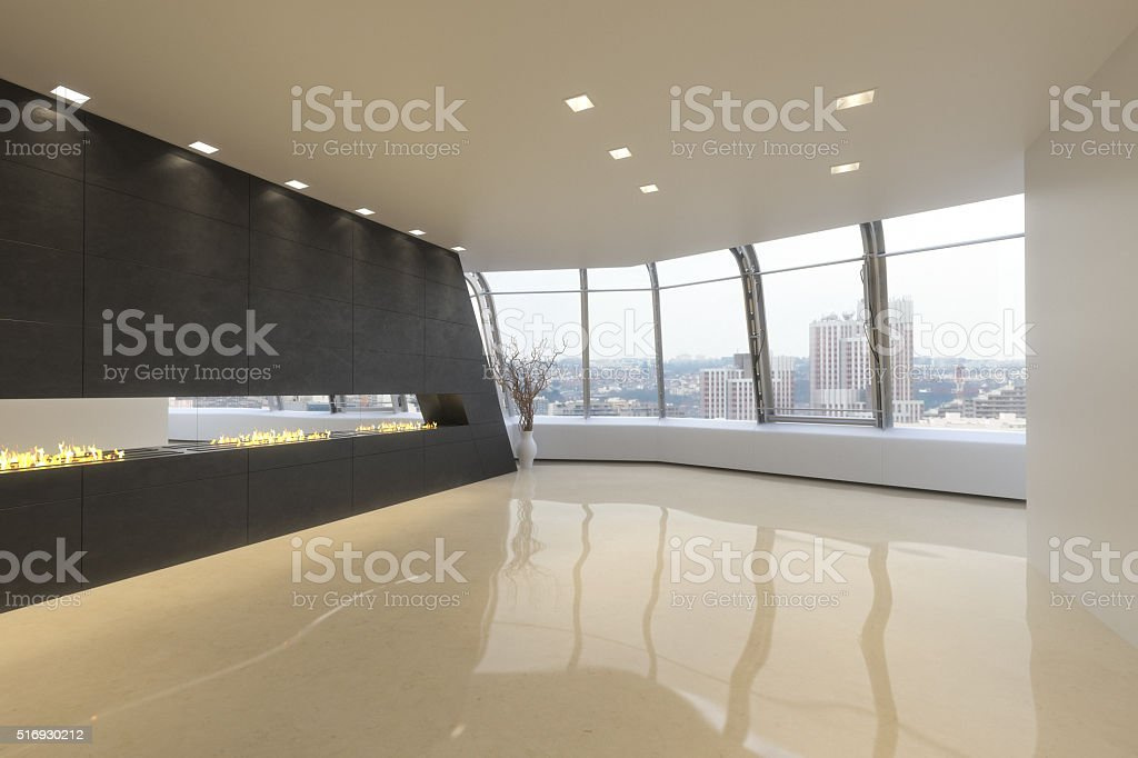 Empty room of a High rise modern residence stock photo