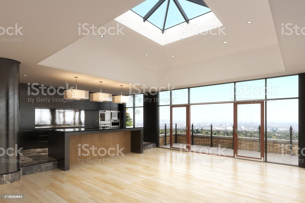 Empty room of a High rise residence with a city background. stock photo