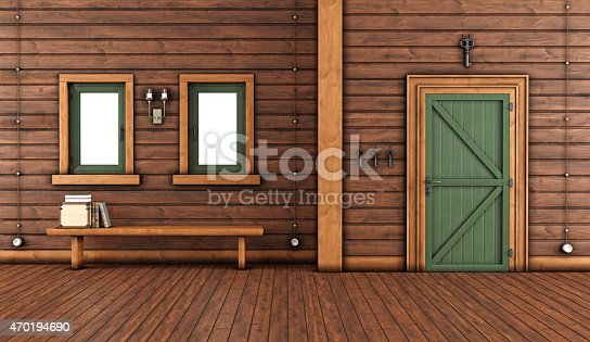 Empty room of a mountain home with green front door and bench with books under windows - 3D Rendering