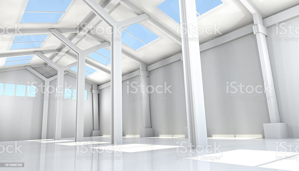 Empty Room of Modern Storehouse royalty-free stock photo