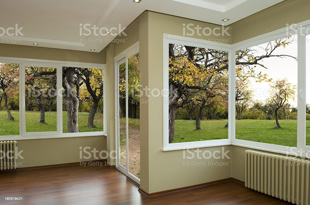 Empty Room Empty room with nature landscape Apartment Stock Photo
