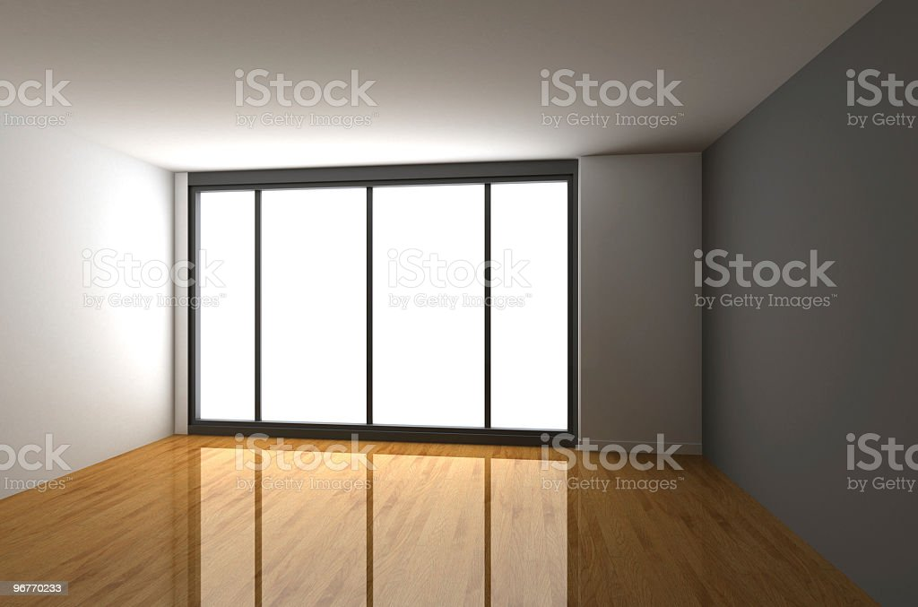 Empty room rendering: WHITE light from the window royalty-free stock photo
