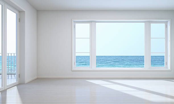 Empty room sea view with clipping path for background stock photo