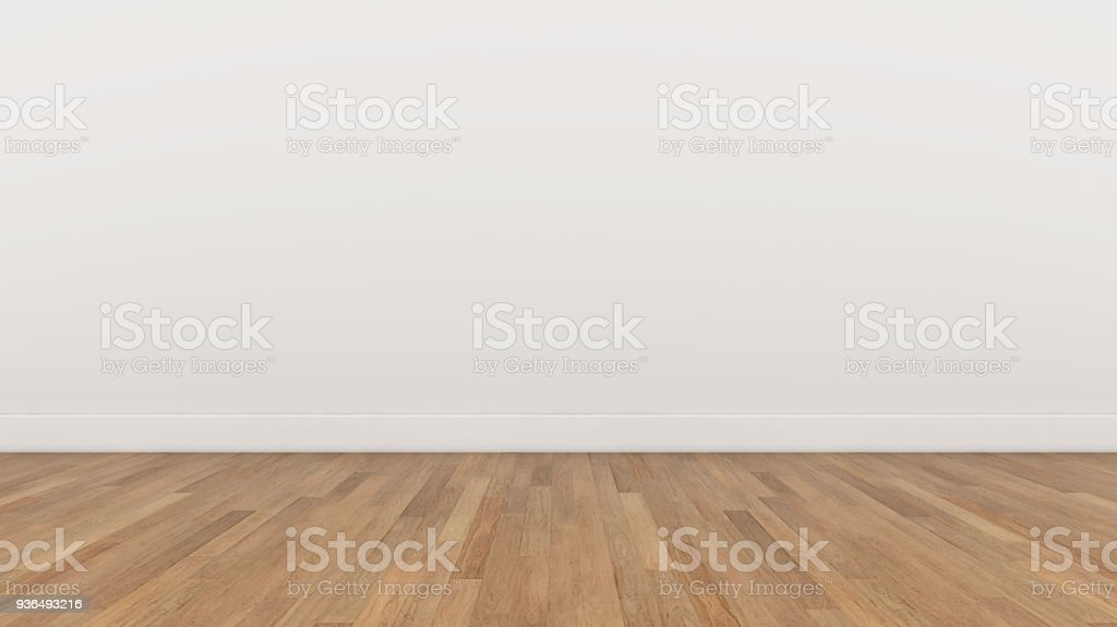 Empty Room White wall and wood  brown floor, 3d render Illustration Background Texture royalty-free stock photo