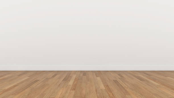 empty room white wall and wood  brown floor, 3d render illustration background texture - wall foto e immagini stock