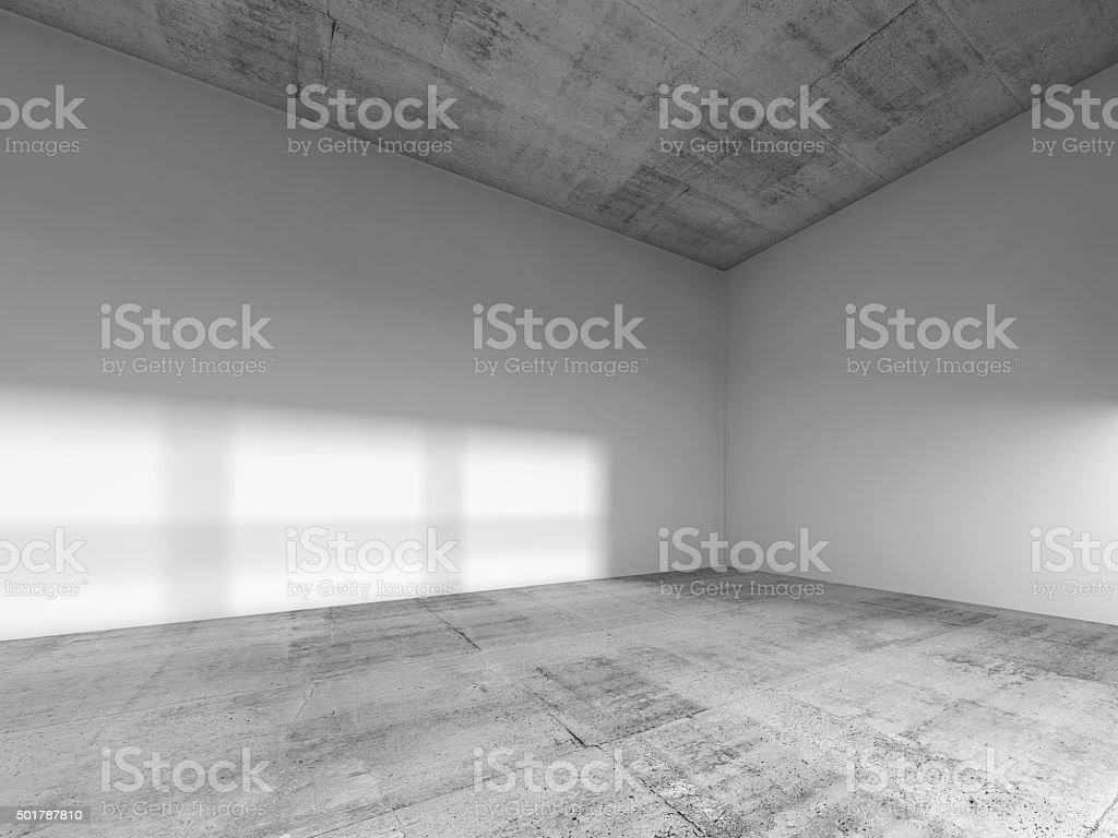 Empty room, white walls, concrete floor, ceiling stock photo