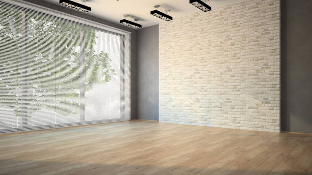 empty room whith brick wall and dark floor - com portada imagens e fotografias de stock