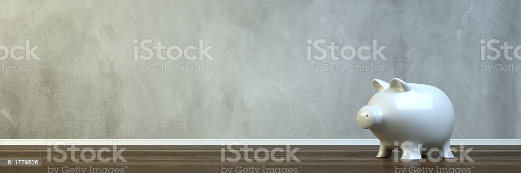 Empty room with a piggy bank stock photo