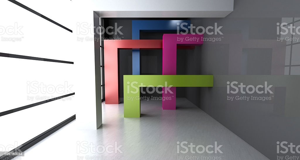 Empty room with abstract colored shapes stock photo