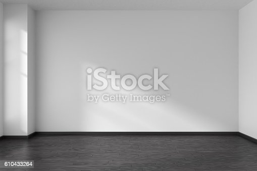 istock Empty room with angle with parquet floor and white walls 610433264