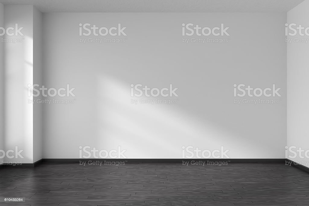 Empty room with angle with parquet floor and white walls stock photo