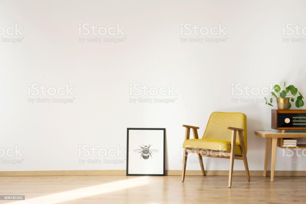 Empty room with armchair stock photo