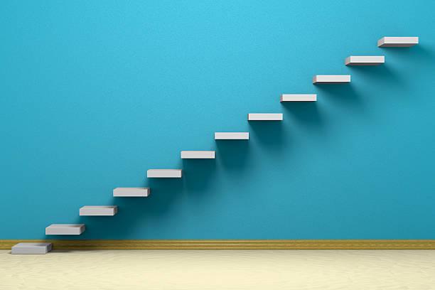 leeren raum mit aufsteigender treppen - bild wandtreppe stock-fotos und bilder