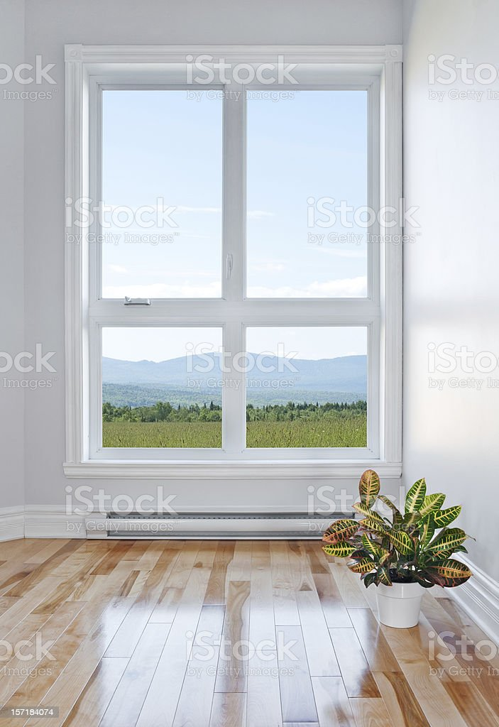 Empty room with beautiful view stock photo