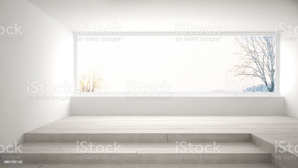 Empty Room With Big Panoramic Window And Stairs Minimalist White Scandinavian Interior Design Royalty