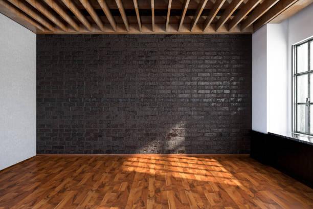 tomma rum med svart tegelvägg - solar panel bildbanksfoton och bilder