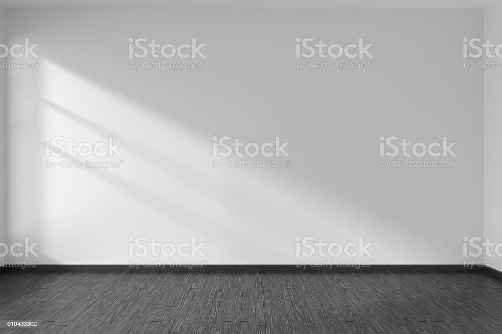 Empty room with black parquet floor and white walls stock photo