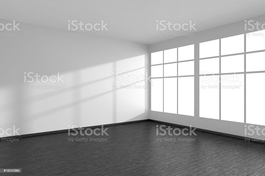 Empty room with black parquet floor, white walls and window stock photo