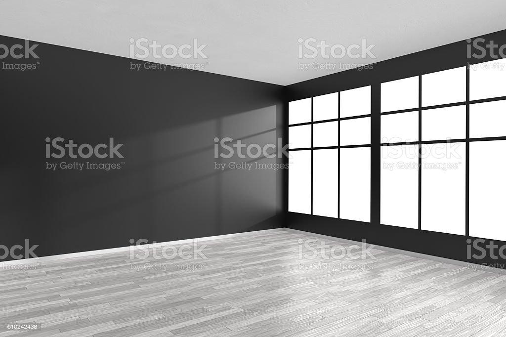 Empty room with black walls, white parquet floor and window stock photo