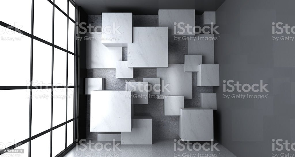 Empty room with blank marble blocks on the wall stock photo