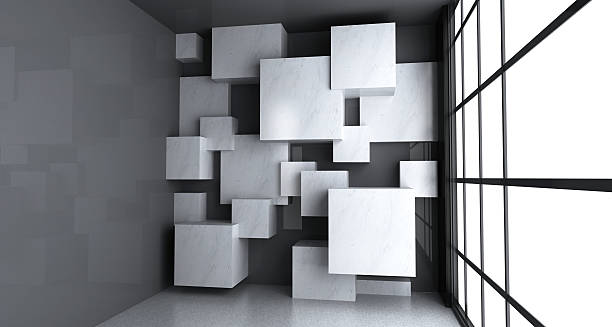 Empty room with blank marble cubes stock photo