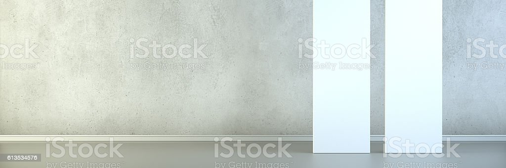 Empty room with blank vertical screens stock photo