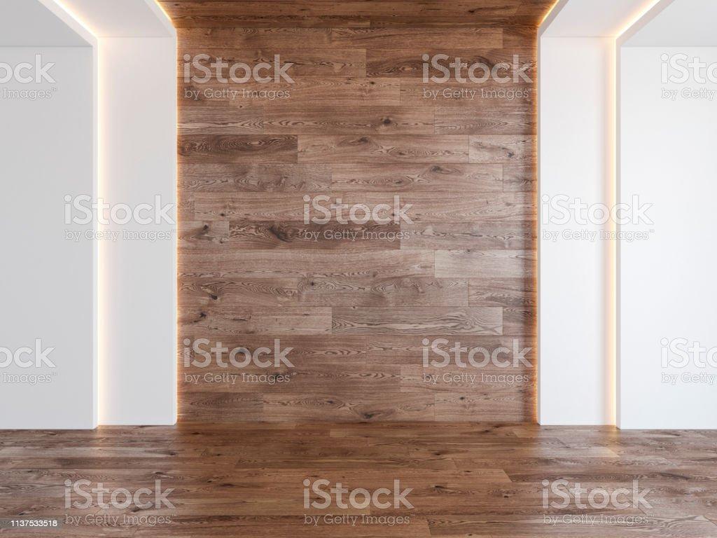 Empty room with blank wood wall, hidden light, parquet wood floor. 3d...