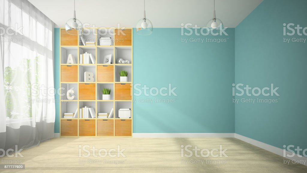 Empty room with blue wall 3D rendering stock photo