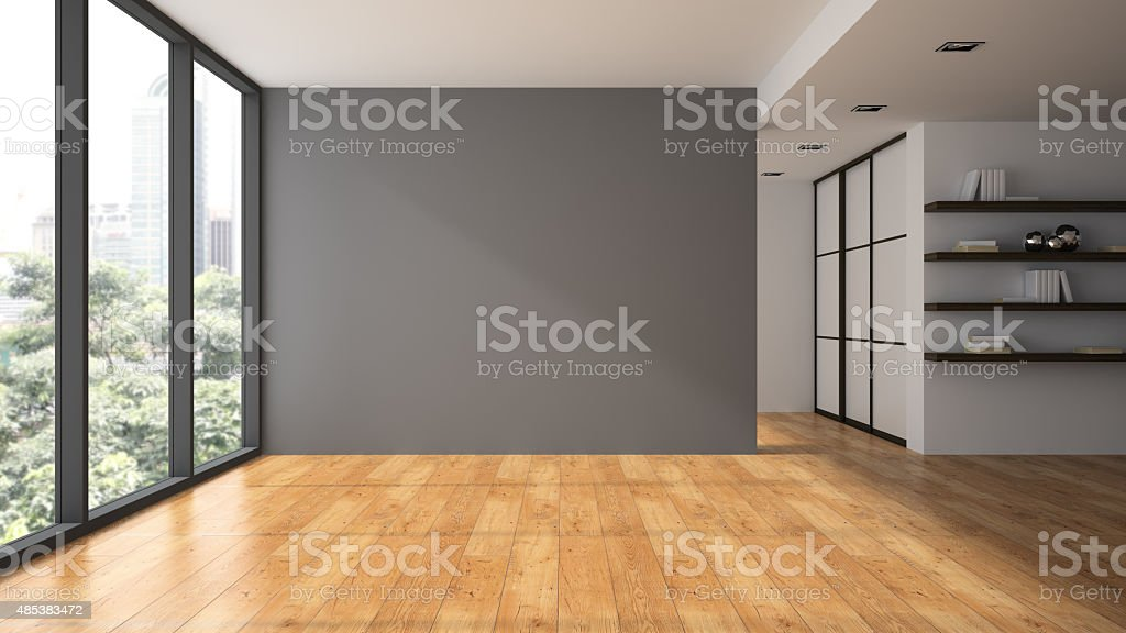 Empty room with book shelfs 3D rendering stock photo