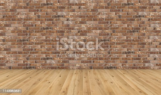 Empty room with brown wooden floor and old red brick wall. Empty loft room for design interior. Long wide picture of empty living space room.