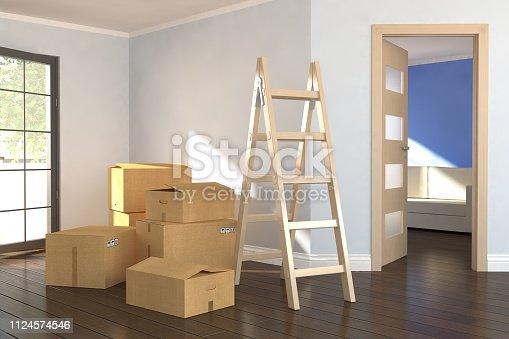 istock Empty room with cartoons 1124574546