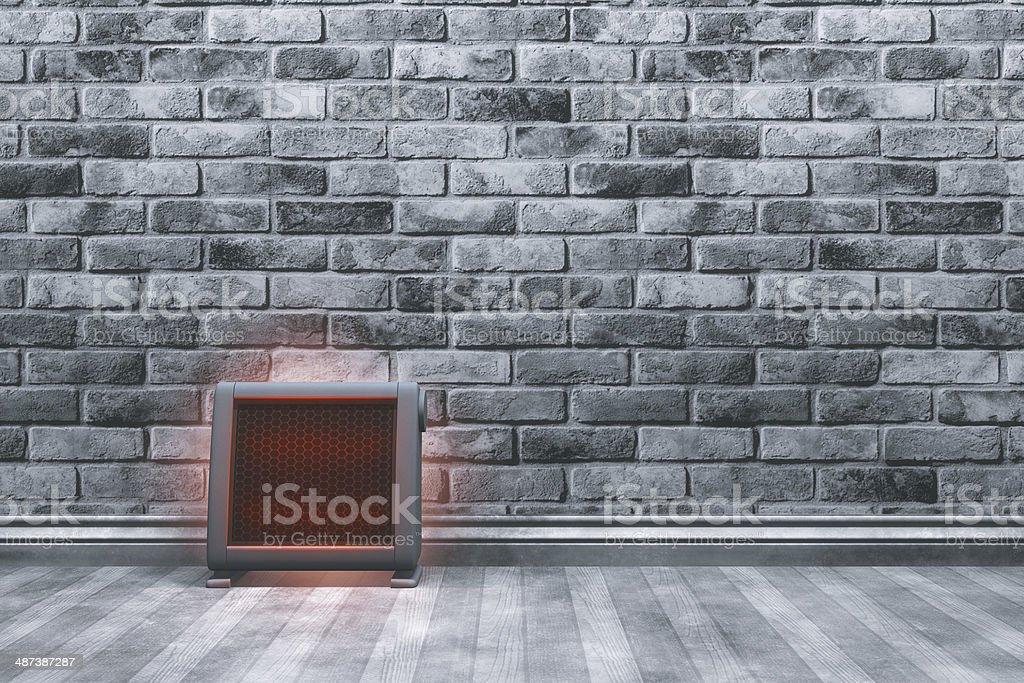 Empty room with ceramic heater stock photo