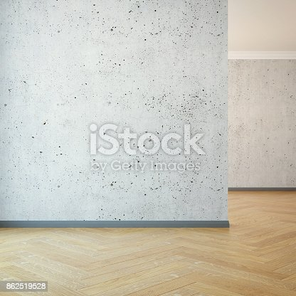 521806786 istock photo empty room with clear wall, 3d rendering 862519528